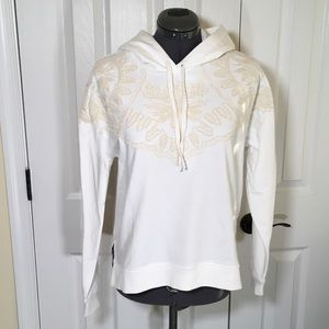 NWT Lucky Brand White Embroidered Hoodie SzS